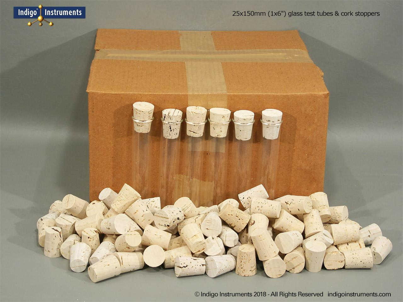 100 25x150mm Test Tubes/Corks