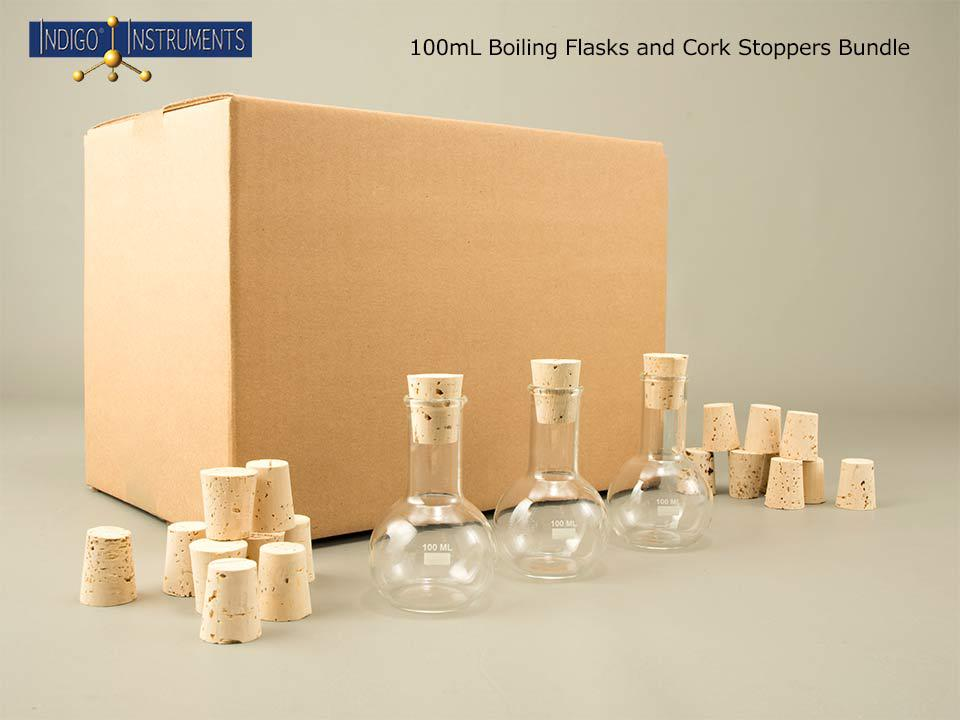 6 100ml Boiling Flasks/Corks